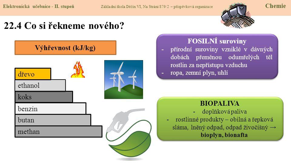 22.4 Co si řekneme nového FOSILNÍ suroviny Výhřevnost (kJ/kg) dřevo