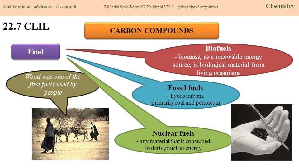22.7 CLIL Fuel CARBON COMPOUNDS Biofuels Fossil fuels Nuclear fuels