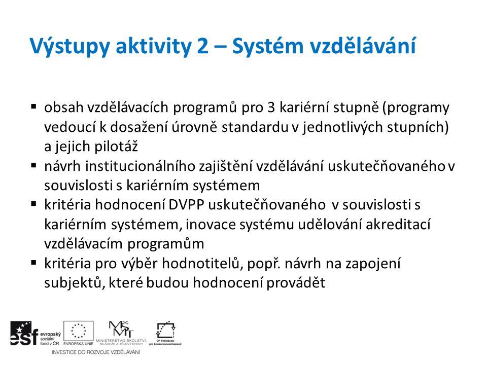 Výstupy aktivity 2 – Systém vzdělávání