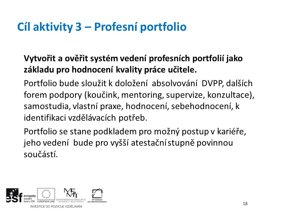 Cíl aktivity 3 – Profesní portfolio