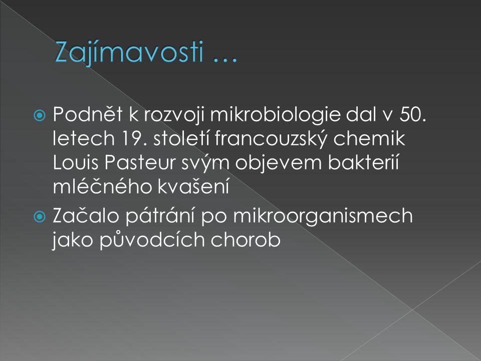 Zajímavosti … Podnět k rozvoji mikrobiologie dal v 50. letech 19. století francouzský chemik Louis Pasteur svým objevem bakterií mléčného kvašení.