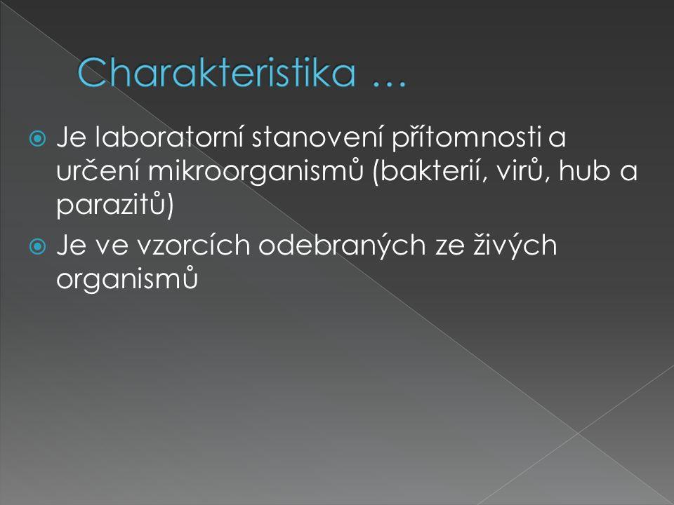 Charakteristika … Je laboratorní stanovení přítomnosti a určení mikroorganismů (bakterií, virů, hub a parazitů)