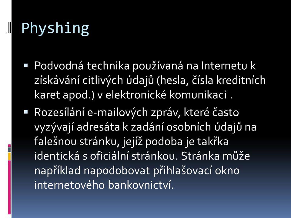 Physhing Podvodná technika používaná na Internetu k získávání citlivých údajů (hesla, čísla kreditních karet apod.) v elektronické komunikaci .