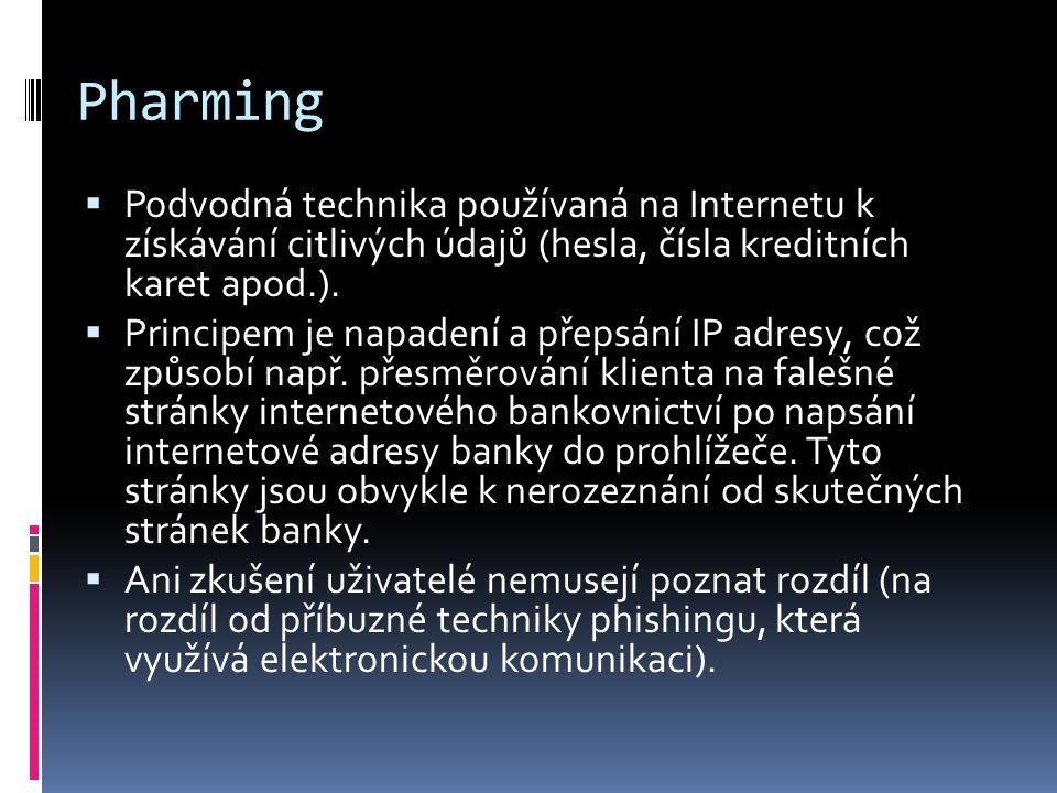 Pharming Podvodná technika používaná na Internetu k získávání citlivých údajů (hesla, čísla kreditních karet apod.).