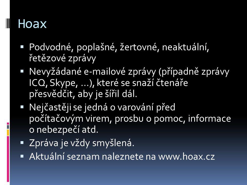 Hoax Podvodné, poplašné, žertovné, neaktuální, řetězové zprávy