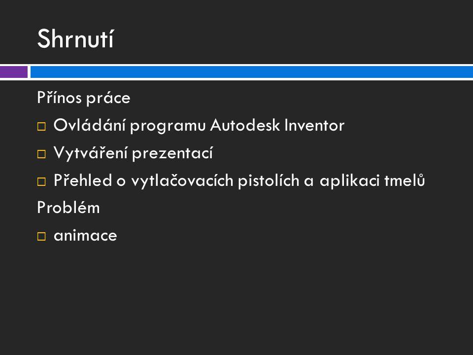 Shrnutí Přínos práce Ovládání programu Autodesk Inventor