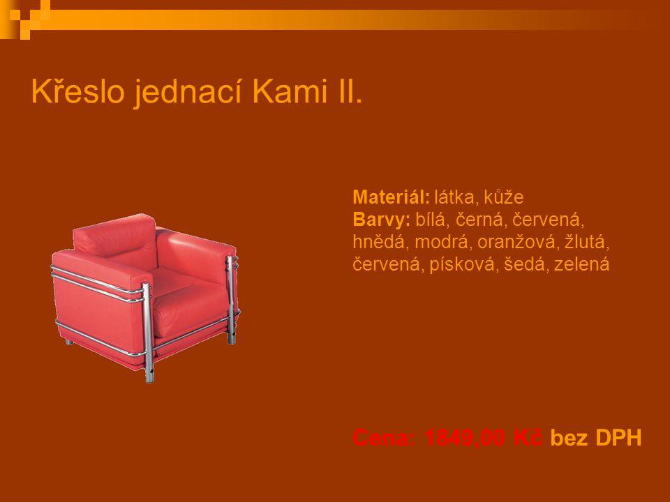 Křeslo jednací Kami II. Cena: 1849,00 Kč bez DPH Materiál: látka, kůže