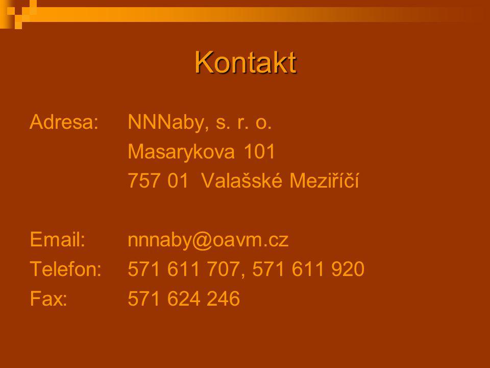 Kontakt Adresa: NNNaby, s. r. o. Masarykova 101