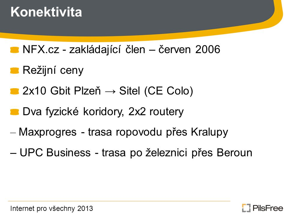 Konektivita NFX.cz - zakládající člen – červen 2006 Režijní ceny