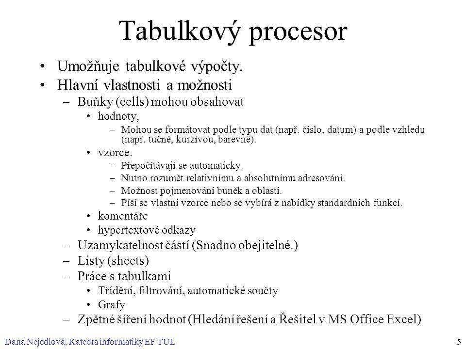 Tabulkový procesor Umožňuje tabulkové výpočty.