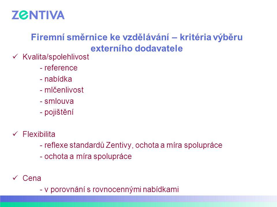 Firemní směrnice ke vzdělávání – kritéria výběru externího dodavatele