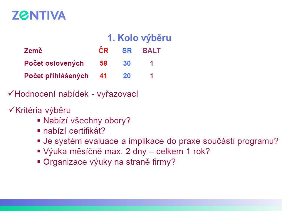 1. Kolo výběru Hodnocení nabídek - vyřazovací Kritéria výběru