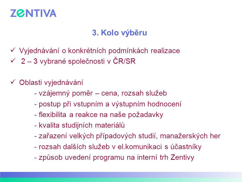 3. Kolo výběru Vyjednávání o konkrétních podmínkách realizace