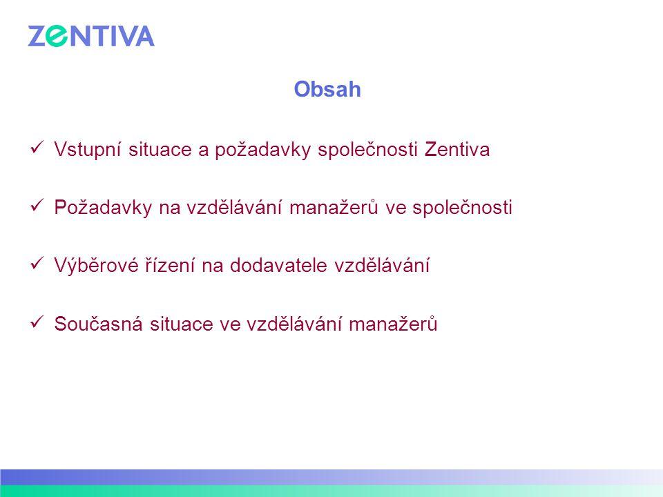Obsah Vstupní situace a požadavky společnosti Zentiva