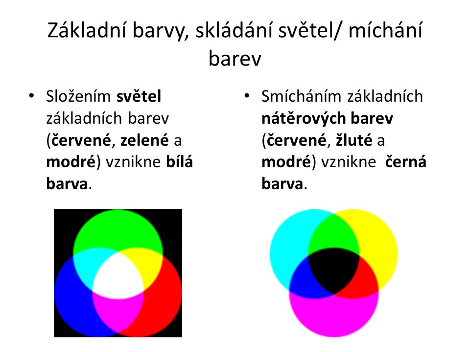 Základní barvy, skládání světel/ míchání barev