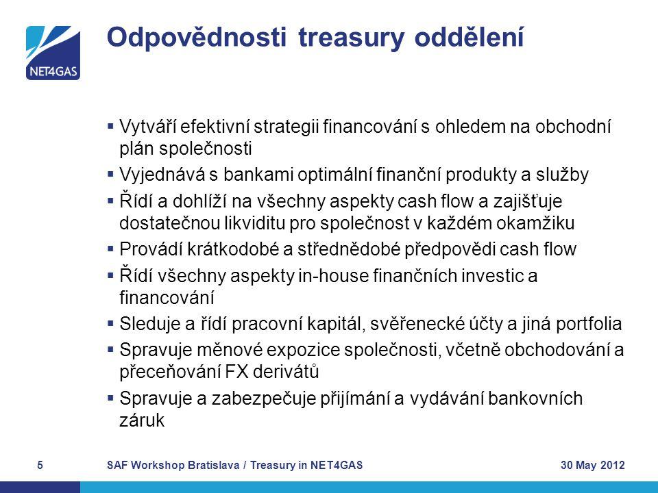 Odpovědnosti treasury oddělení