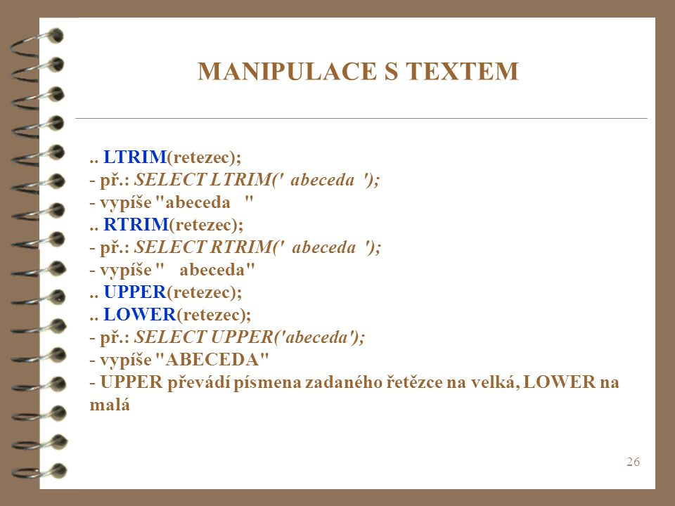 MANIPULACE S TEXTEM