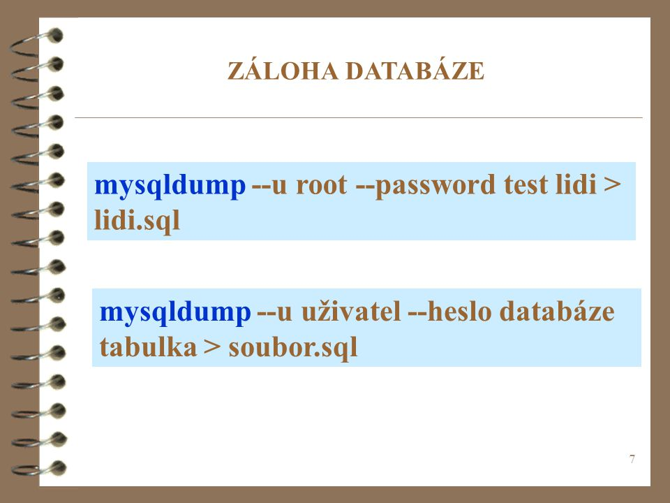 mysqldump --u root --password test lidi > lidi.sql