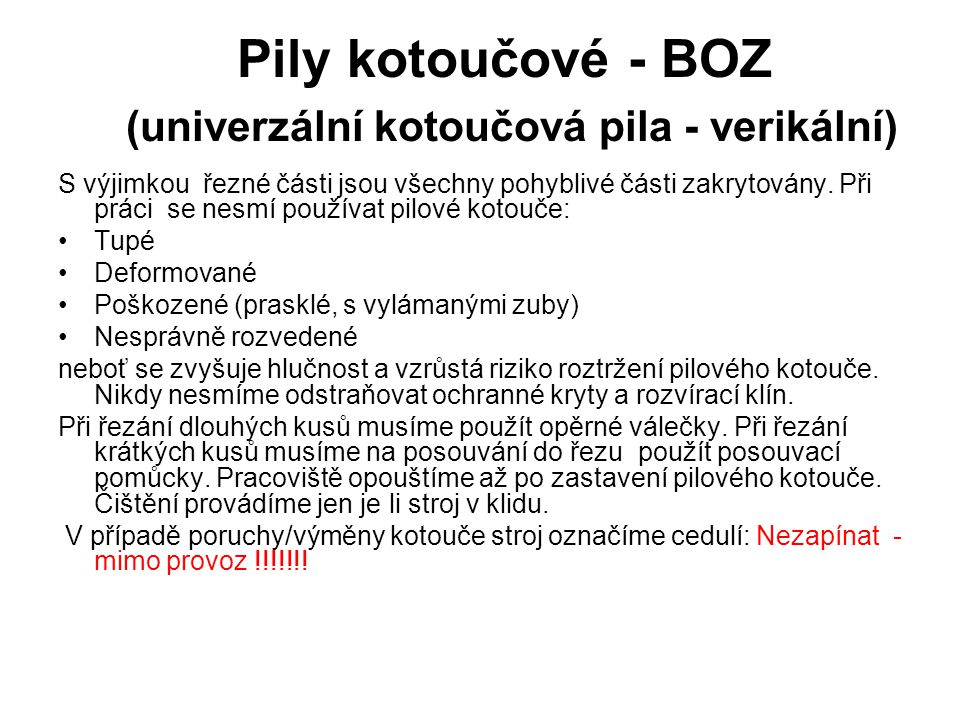 Pily kotoučové - BOZ (univerzální kotoučová pila - verikální)