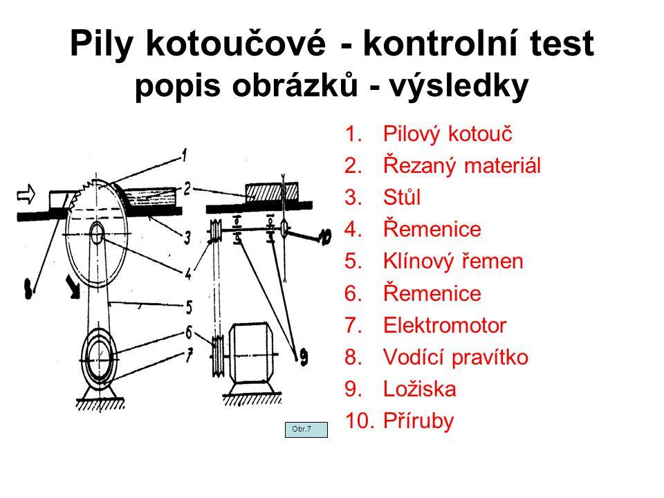 Pily kotoučové - kontrolní test popis obrázků - výsledky