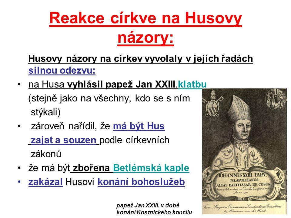 Reakce církve na Husovy názory: