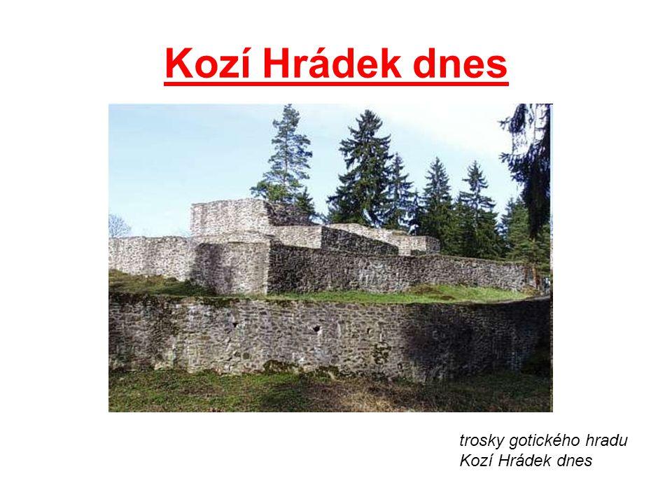 Kozí Hrádek dnes trosky gotického hradu Kozí Hrádek dnes
