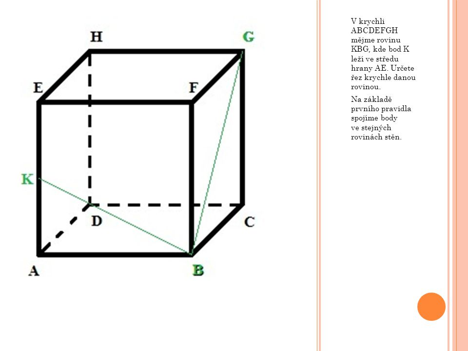 V krychli ABCDEFGH mějme rovinu KBG, kde bod K leží ve středu hrany AE