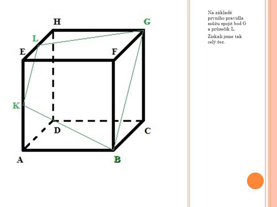 Na základě prvního pravidla můžu spojit bod G a průsečík L.