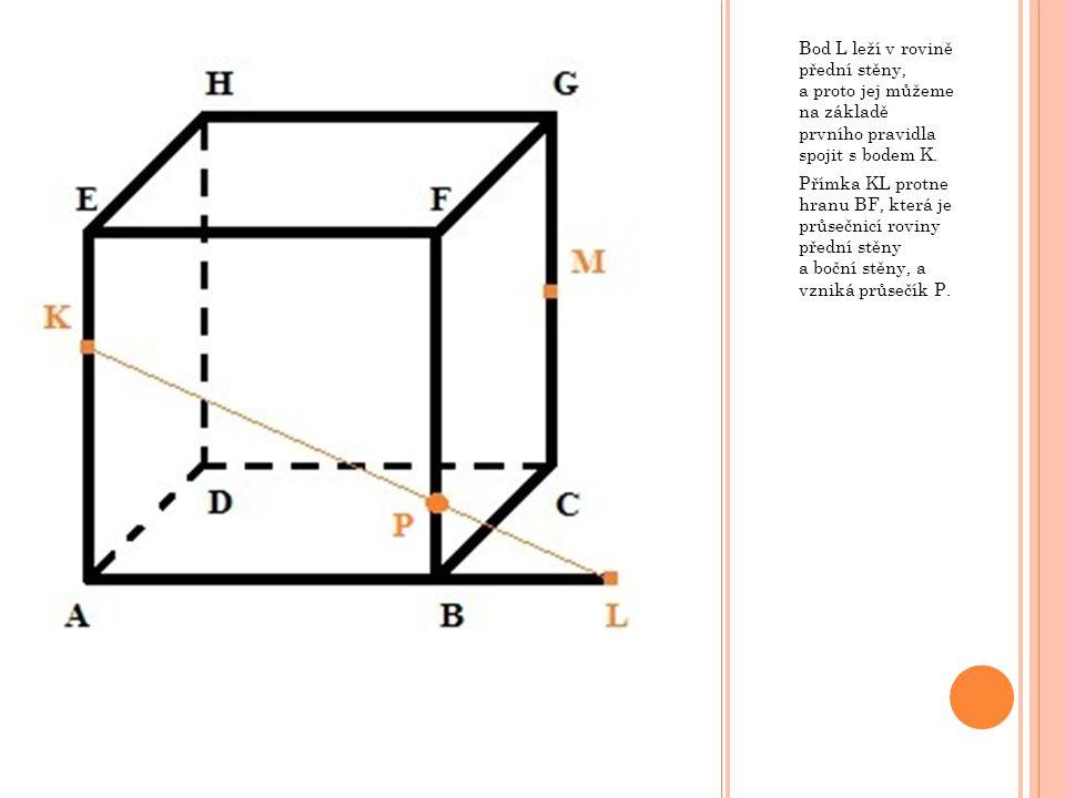 Bod L leží v rovině přední stěny, a proto jej můžeme na základě prvního pravidla spojit s bodem K.