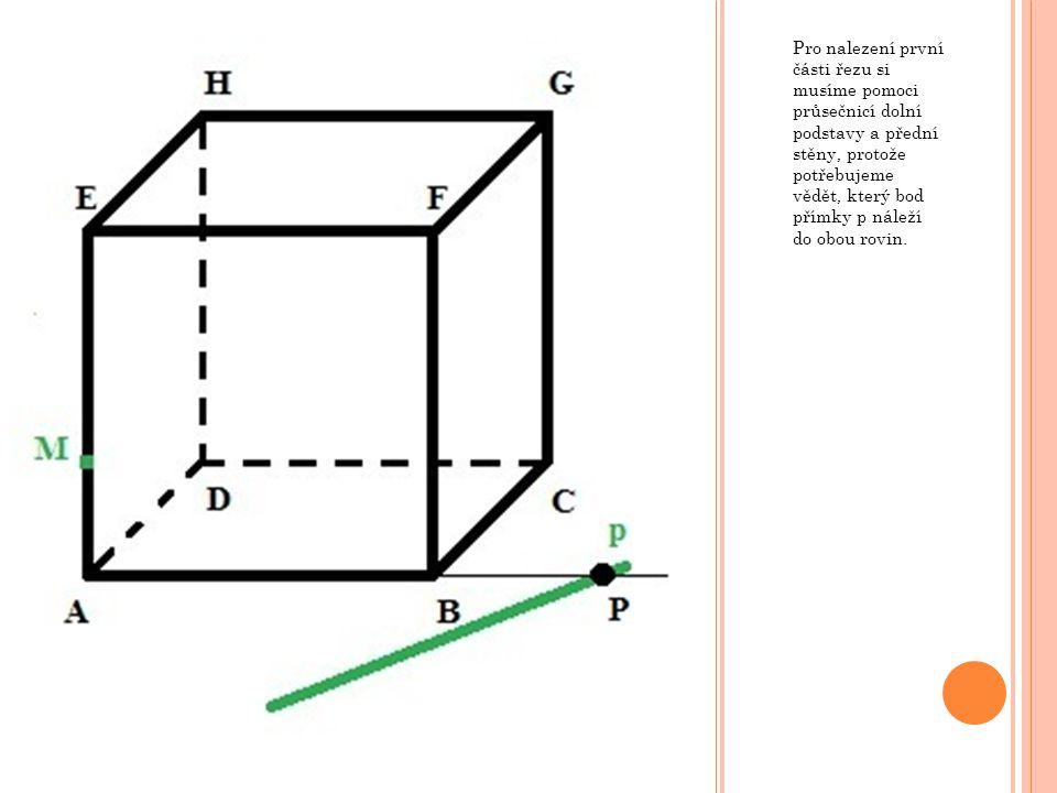 Pro nalezení první části řezu si musíme pomoci průsečnicí dolní podstavy a přední stěny, protože potřebujeme vědět, který bod přímky p náleží do obou rovin.