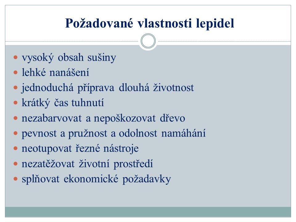 Požadované vlastnosti lepidel