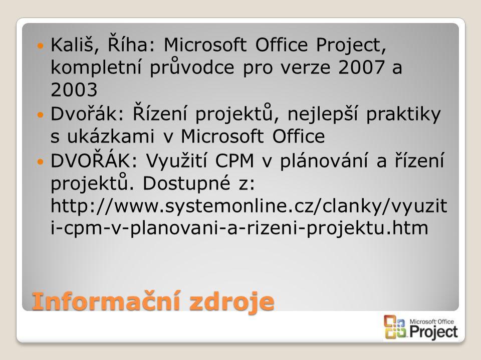 Kališ, Říha: Microsoft Office Project, kompletní průvodce pro verze 2007 a 2003