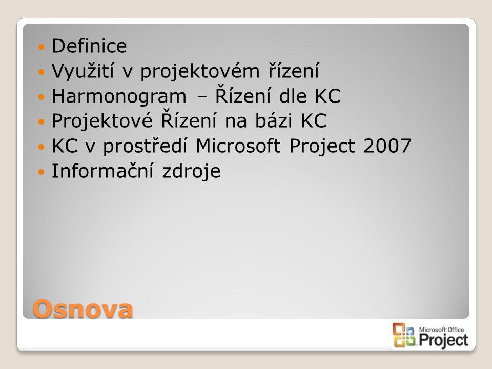 Osnova Definice Využití v projektovém řízení