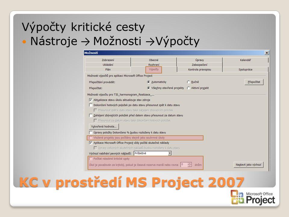 KC v prostředí MS Project 2007