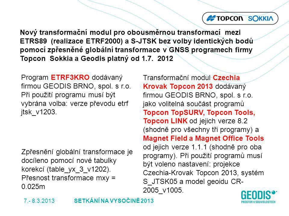 Nový transformační modul pro obousměrnou transformací mezi ETRS89