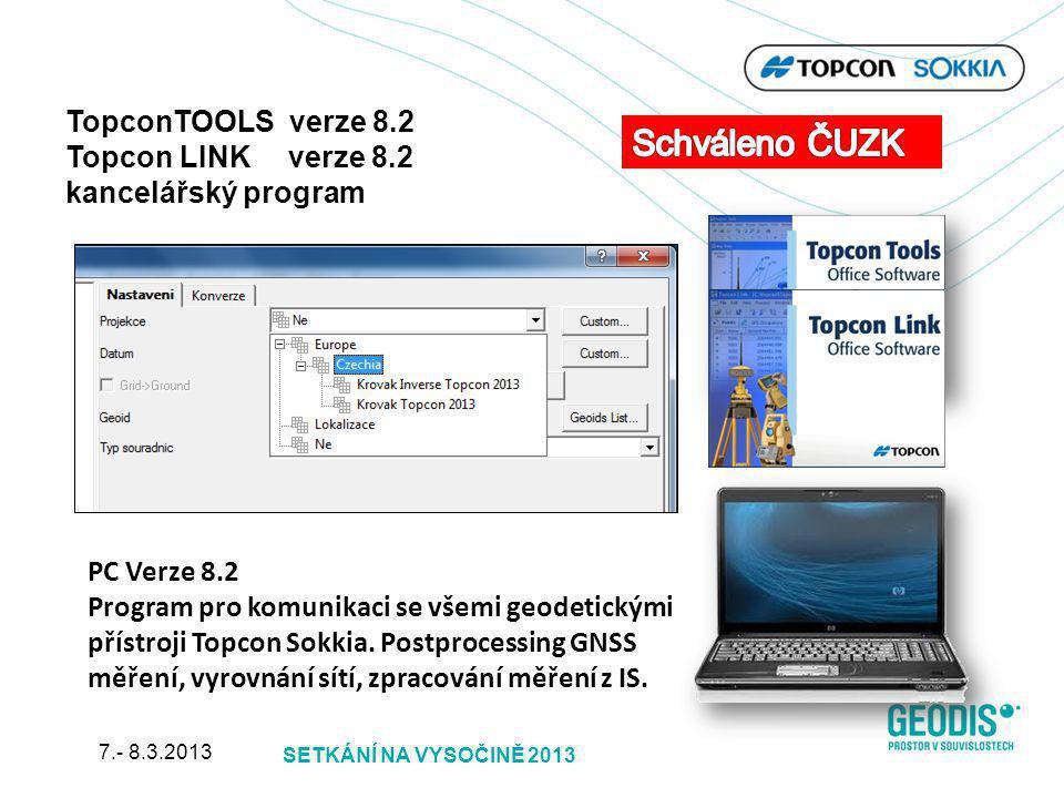 Schváleno ČUZK TopconTOOLS verze 8.2 Topcon LINK verze 8.2