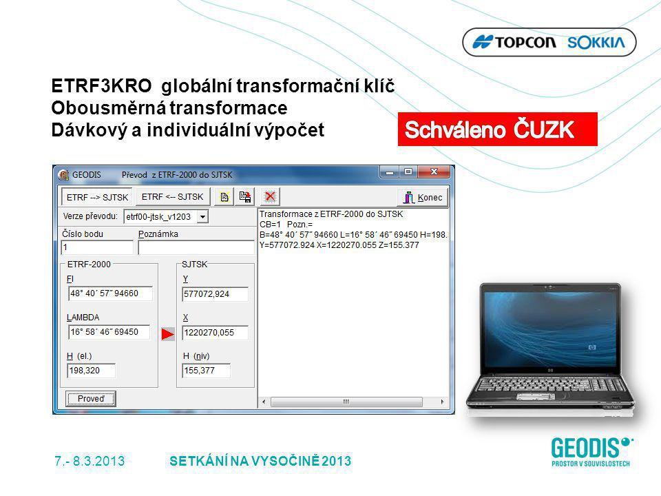 Schváleno ČUZK ETRF3KRO globální transformační klíč