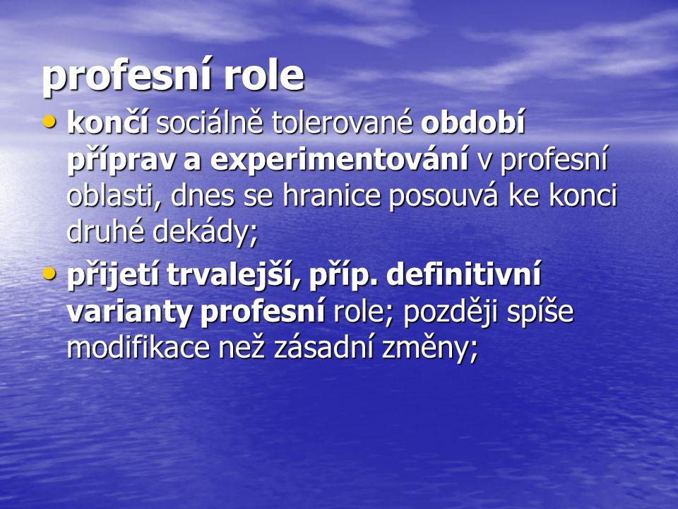profesní role končí sociálně tolerované období příprav a experimentování v profesní oblasti, dnes se hranice posouvá ke konci druhé dekády;