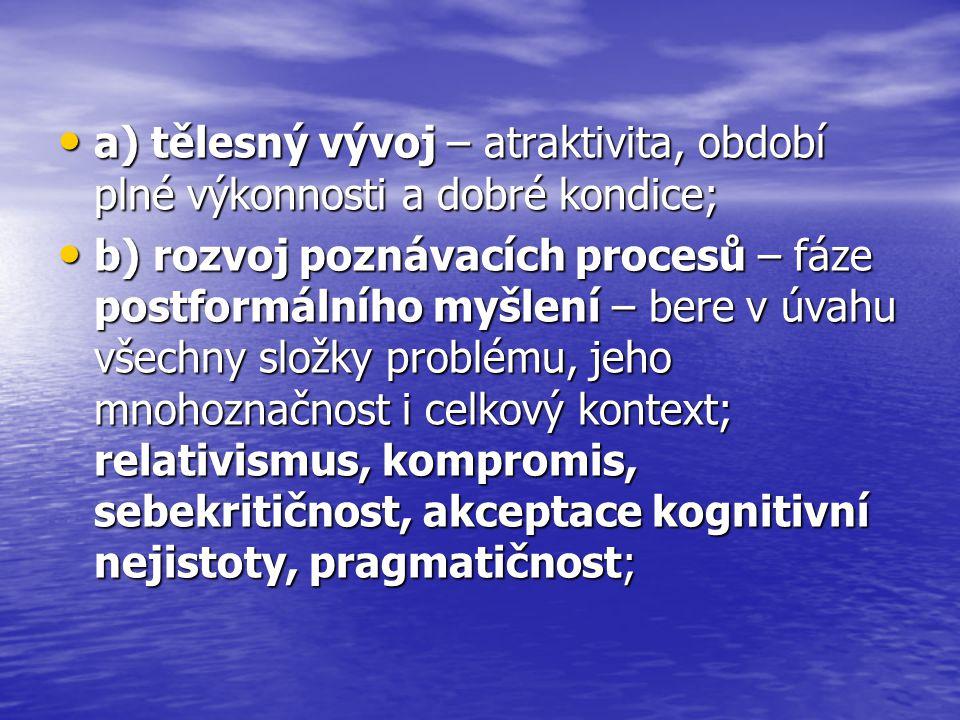a) tělesný vývoj – atraktivita, období plné výkonnosti a dobré kondice;