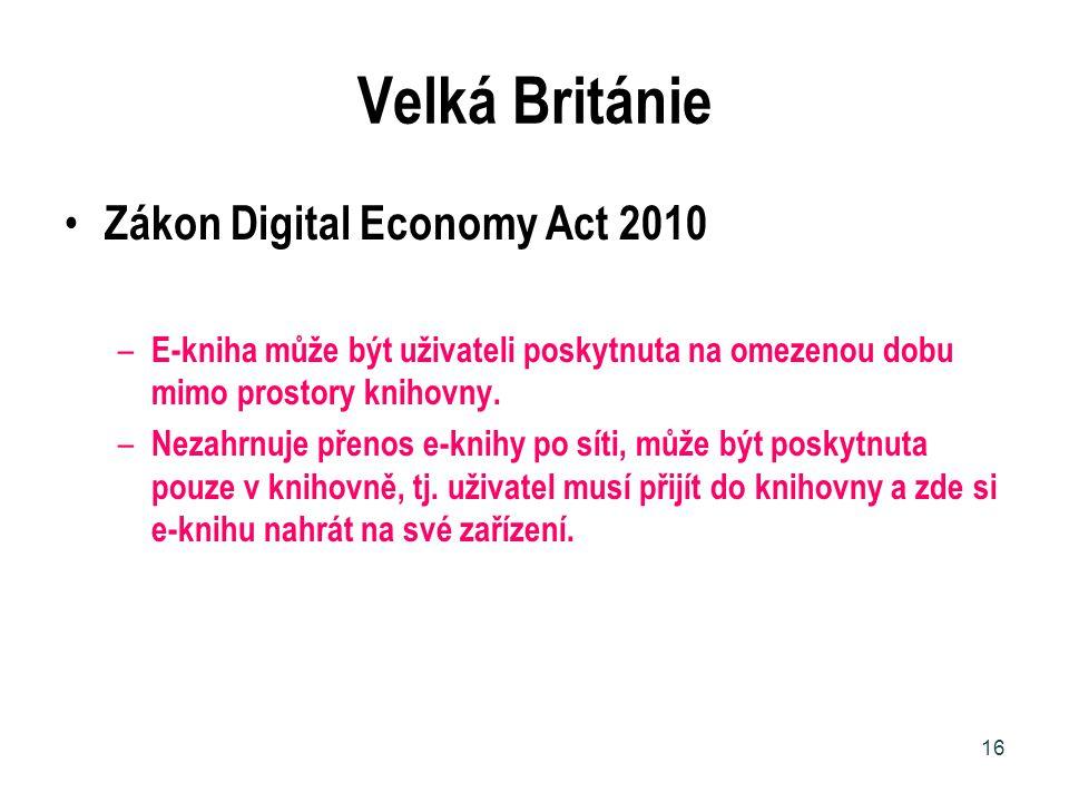 Velká Británie Zákon Digital Economy Act 2010