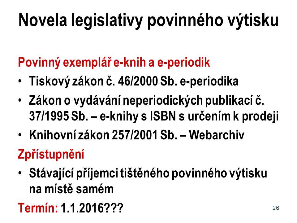 Novela legislativy povinného výtisku