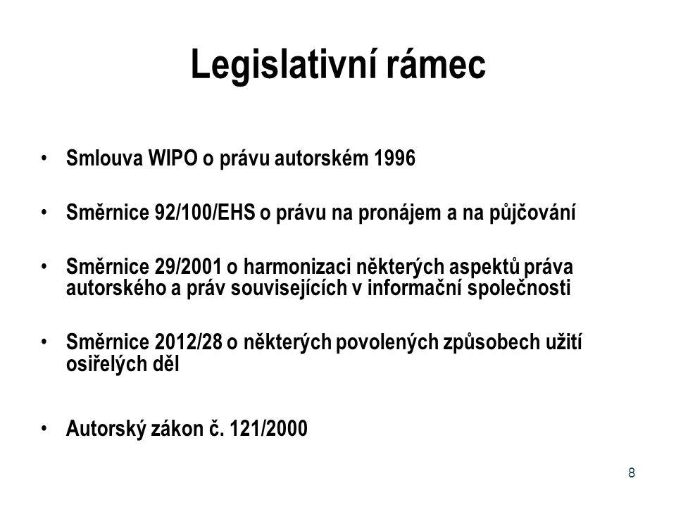 Legislativní rámec Smlouva WIPO o právu autorském 1996