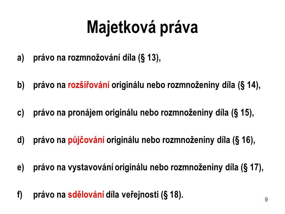 Majetková práva právo na rozmnožování díla (§ 13),