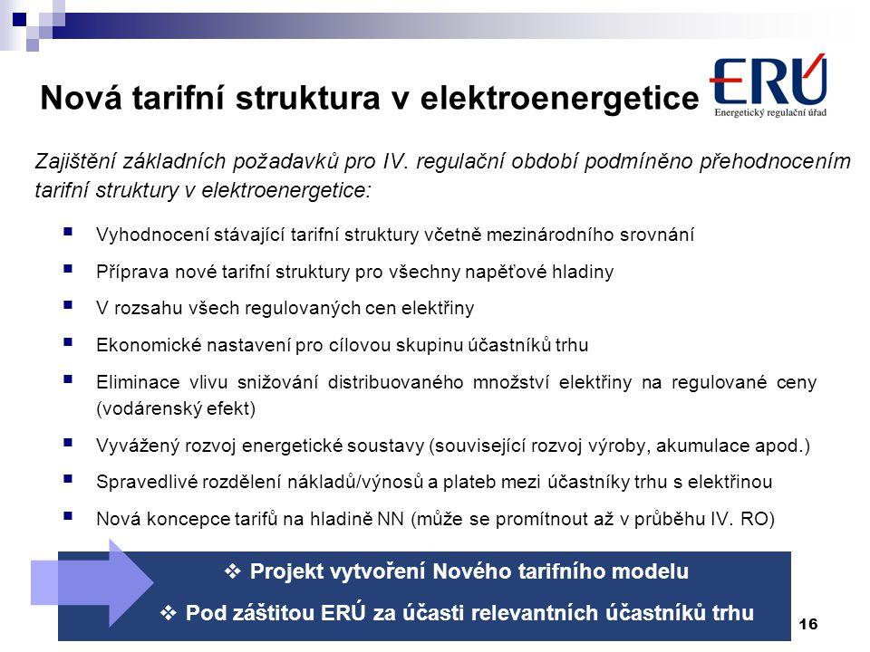 Nová tarifní struktura v elektroenergetice