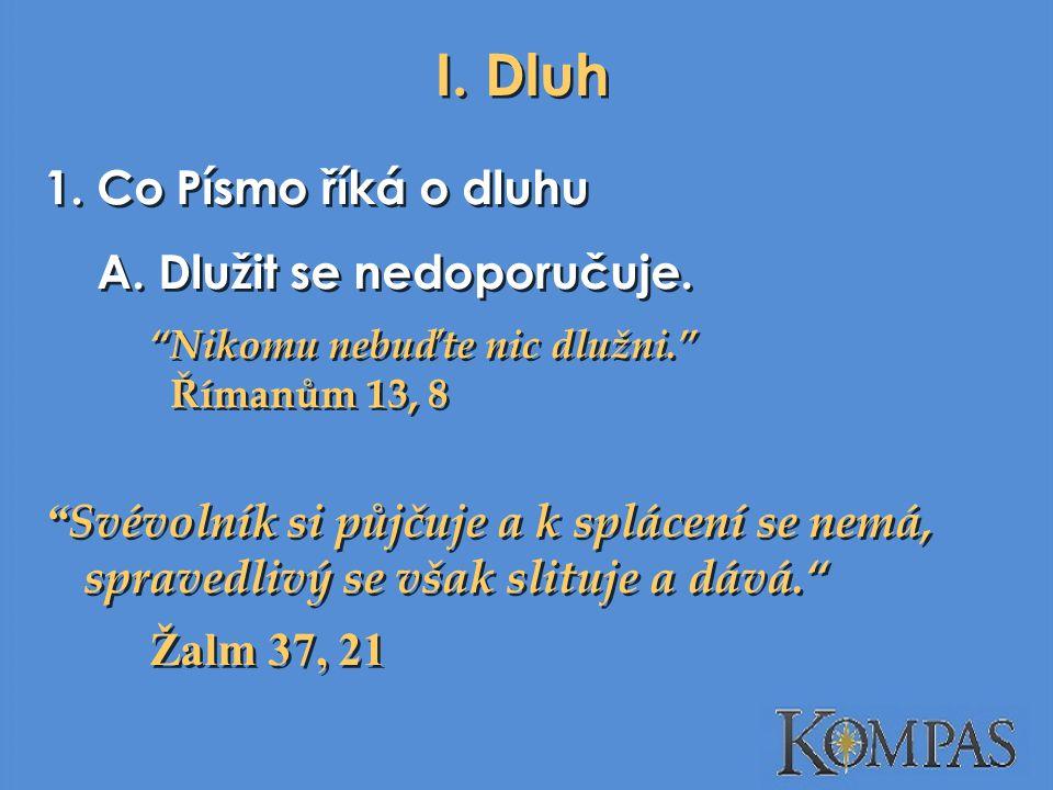I. Dluh 1. Co Písmo říká o dluhu Dlužit se nedoporučuje.
