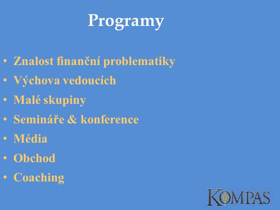 Programy Znalost finanční problematiky Výchova vedoucích Malé skupiny