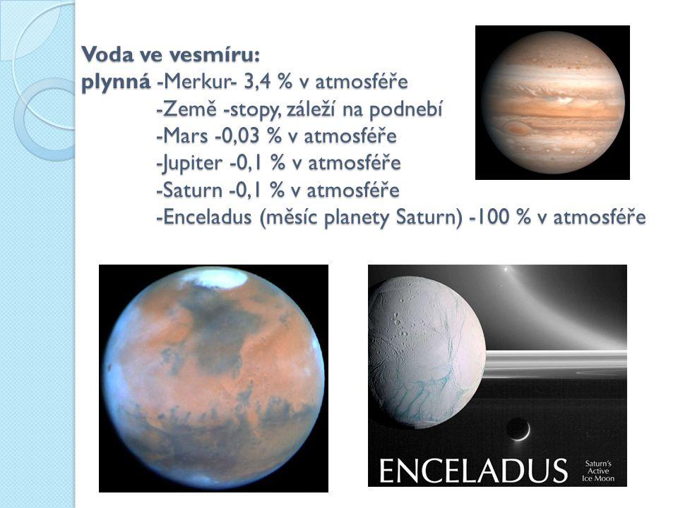 Voda ve vesmíru: plynná -Merkur- 3,4 % v atmosféře -Země -stopy, záleží na podnebí -Mars -0,03 % v atmosféře -Jupiter -0,1 % v atmosféře -Saturn -0,1 % v atmosféře -Enceladus (měsíc planety Saturn) -100 % v atmosféře