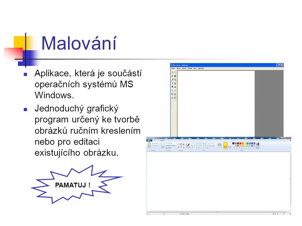 Malování Aplikace, která je součástí operačních systémů MS Windows.
