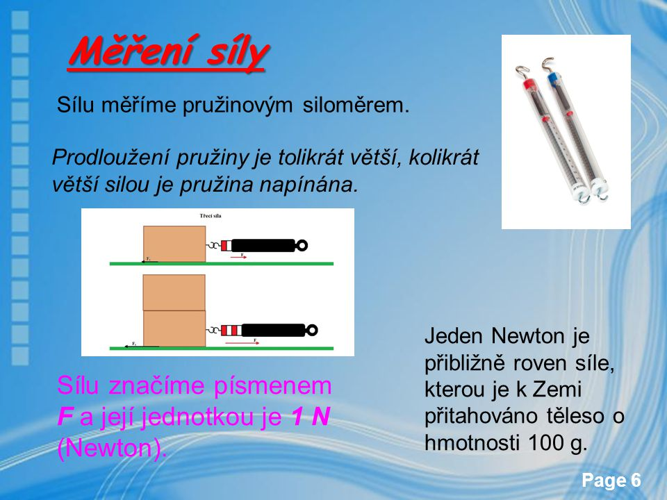 Měření síly Sílu značíme písmenem F a její jednotkou je 1 N (Newton).