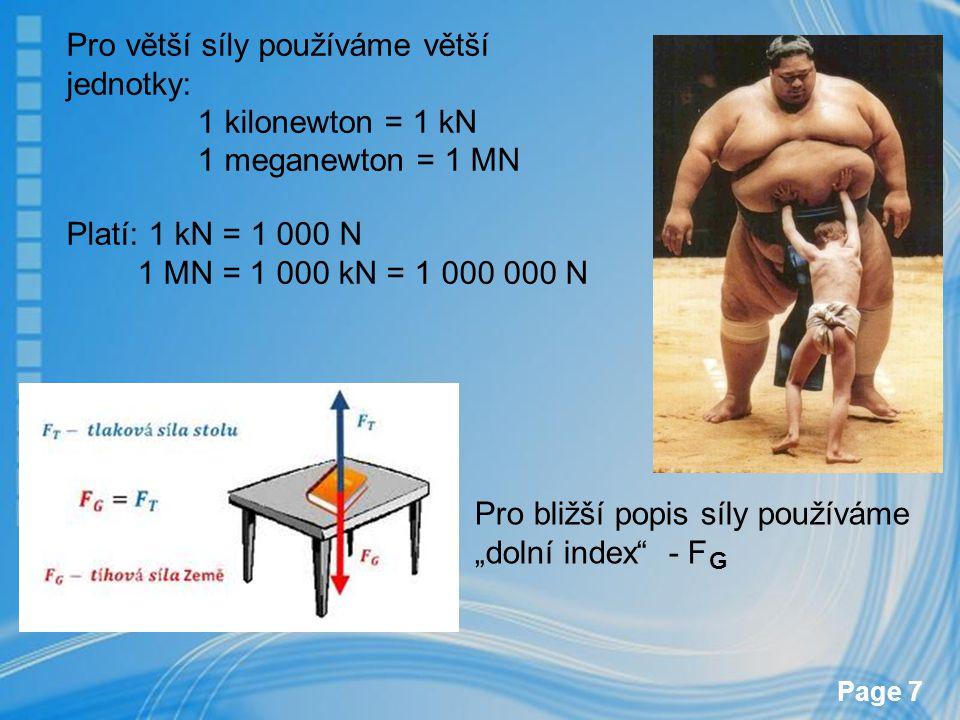 Pro větší síly používáme větší jednotky: 1 kilonewton = 1 kN